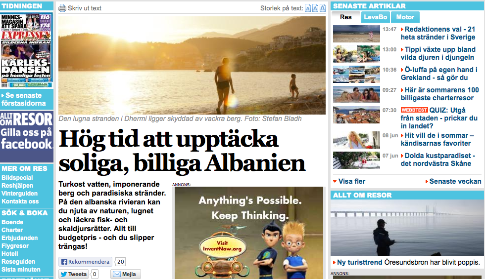 Expressen News Paper Sweden abot Albania